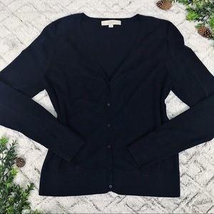 Ann Taylor LOFT Navy Blue V-neck Cardigan Sweater